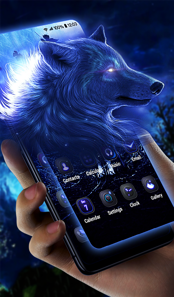 ice wolf free android theme – U launcher 3D