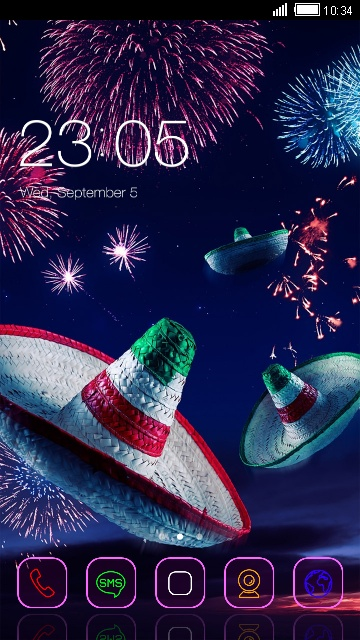 Fireworks Neon Theme Mexican Hat Wallpaper