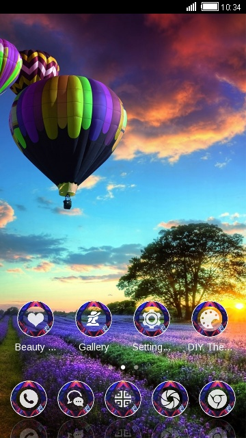 Beautiful Scenery Theme: Floating hot air balloon