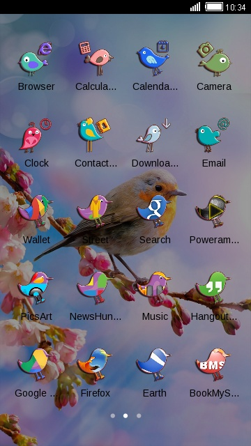 Spring Nature Theme: Flower and Bird Wallpaper