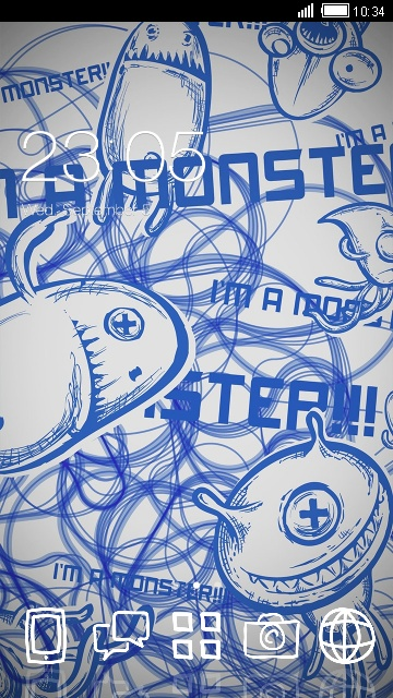 Monster Graffiti Theme Cute Blue Wallpaper