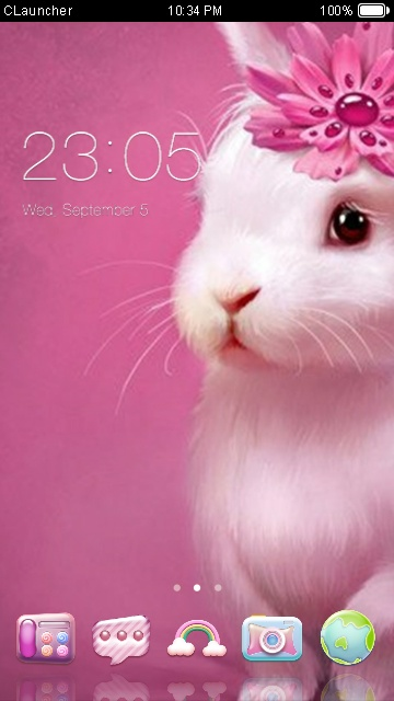 download cute pink bunny theme for your android phone clauncher