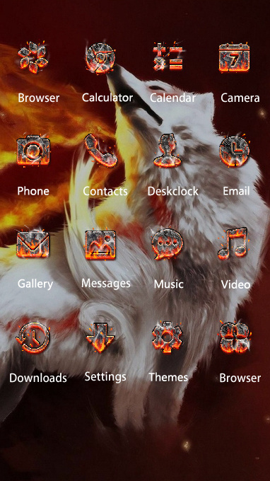 Animal theme abstraction fire wolf gray wallpaper