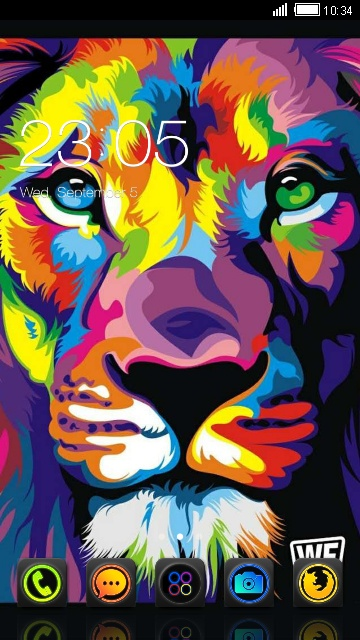 Neon Color Lion Cool Theme
