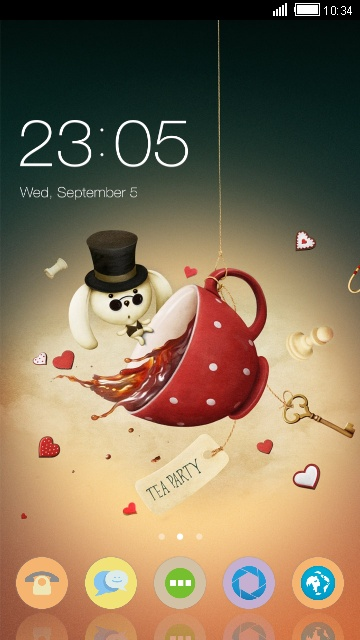 White Rabbit Theme: Cartoon Wallpaper