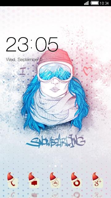 Girly Theme: Chic Snowboarding Girl Wallpaper