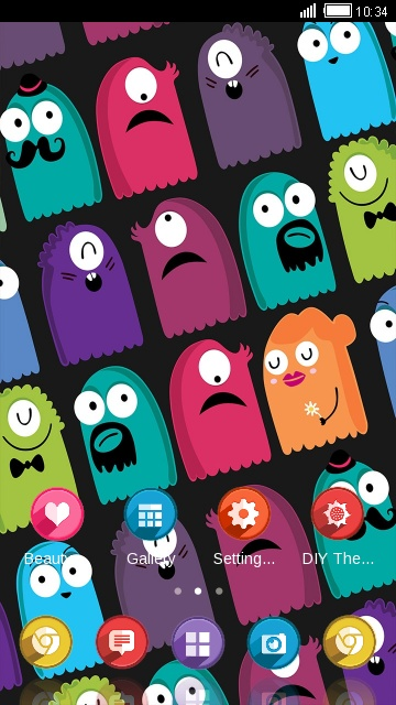 Cute Monster Theme Colorful Wallpaper