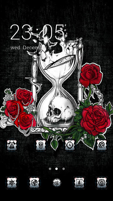 Skull bone theme demon rose wallpaper