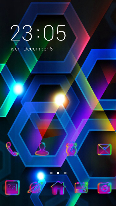 Neon theme color hexagon cell volume wallpaper