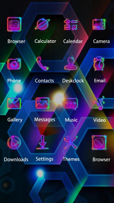 Neon theme color hexagon cell volume wallpaper