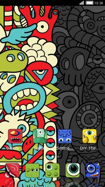 Abstract Cartoon Theme: Cute Monster Wallpaper