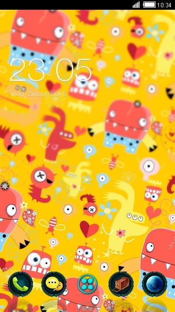 Yellow cute cartoon theme: monster Wallpaper HD