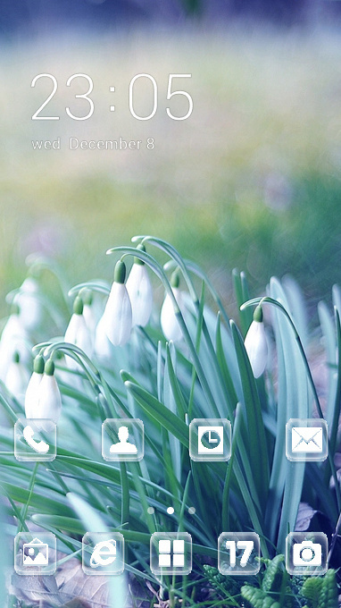 Nature theme spring snowdrops grass wallpaper