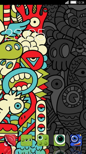 Abstract Cartoon Theme: Cute Monster Wallpaper free android theme