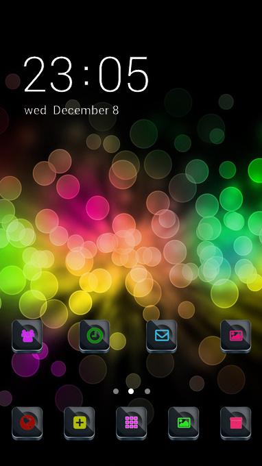 Neon theme glare rainbow circles wallpaper