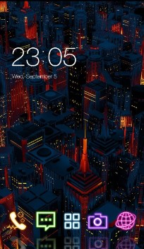 neon holographic city