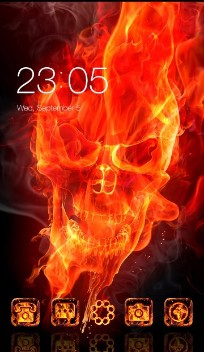 Fire Flaming Skull