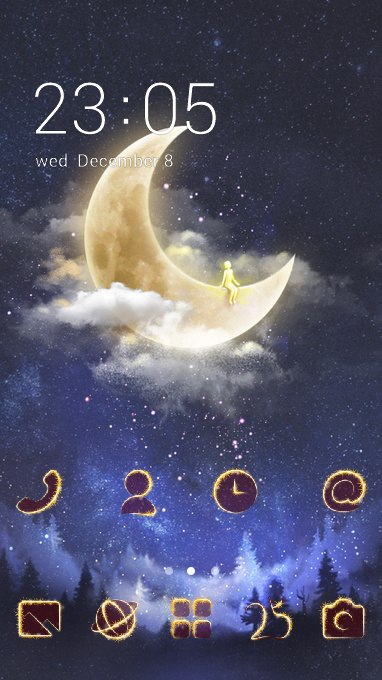 Hand drawing theme fantasy moon wallpaper