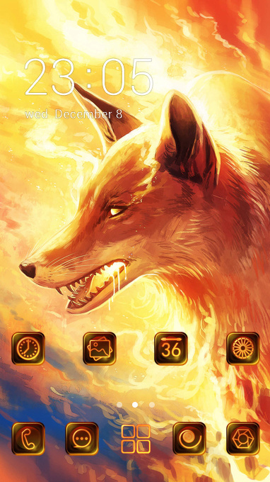 Wolf in flame