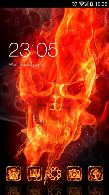 Fire Flaming Skull