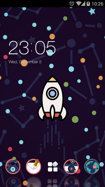 Space Rocket Theme Cartoon Design Wallpaper