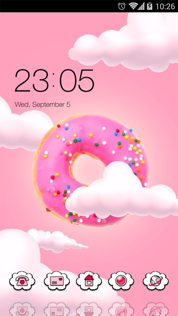 Cute kawaii Theme Pink donut Wallpaper