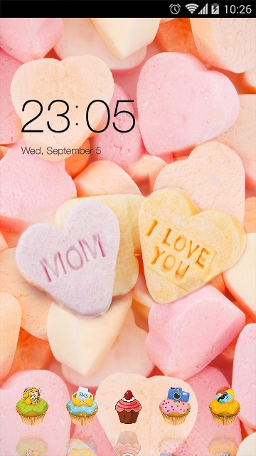 Cute Candy Theme Pink candy hearts Wallpaper