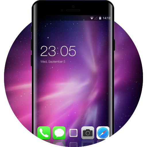 IPhone X Theme:Purple Neon Free Android Theme