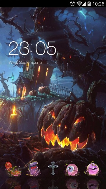 Spooky Halloween Night theme: 3D pumpkin wallpaper