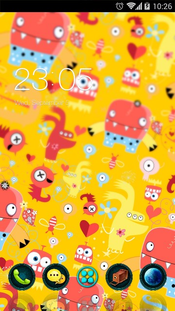 Yellow cute cartoon theme: monster Wallpaper HD
