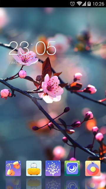 Pink themes for Android: Plum Flower Wallpaper