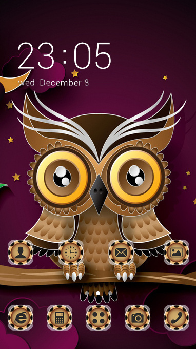 Animal theme owl bird art branch wallpaper