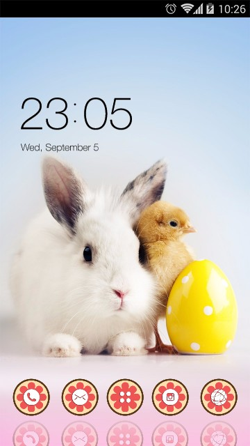 Animal Launcher Theme Rabbit And Chick Wallpaper