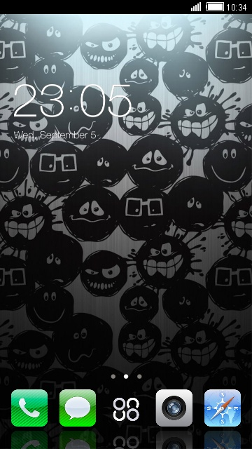 iPhone 5s Theme for Launcher: Dark Smileys HD