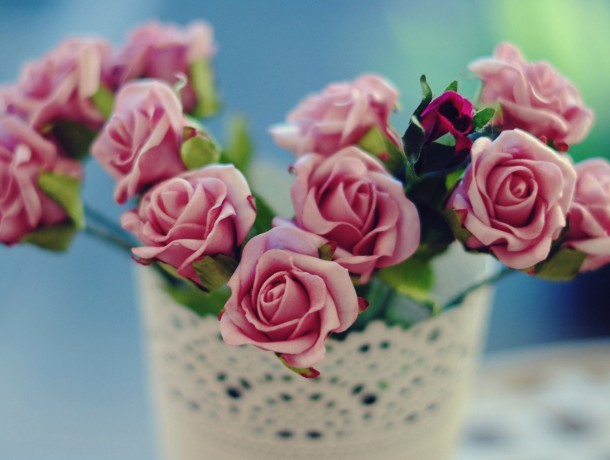 Pink-rose-vase-flowers-blur