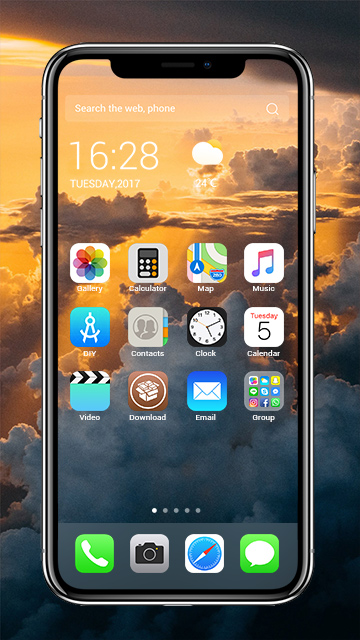 iphone launcher theme iphone x amazing sky theme free android theme u launcher 3d 11981